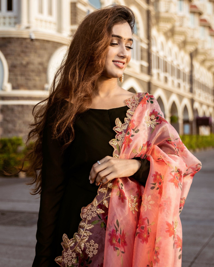 Picture of Black with more gear and organza dupatta