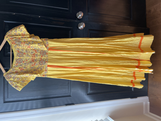 Picture of Yellow anarkali with maggam work