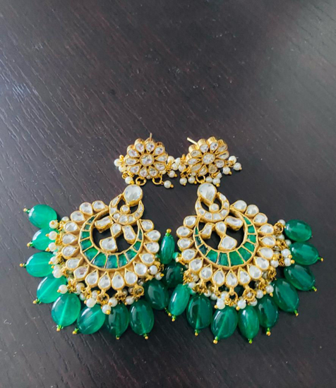 Picture of Beautiful brand new brass made kundan ear rings