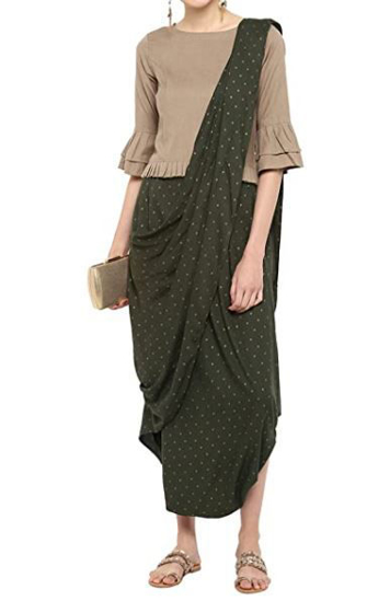 Picture of IndoWestern Green Dhothi style pant cotton Dress
