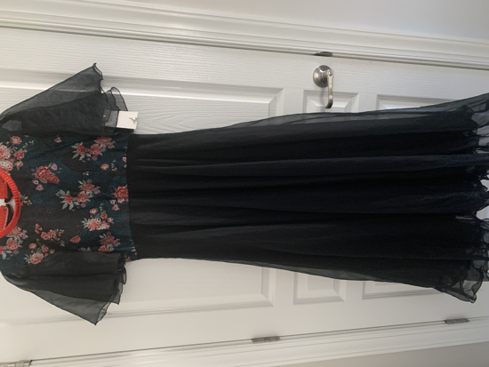 Picture of BRAND NEW - Black pure organza dress with hakoba print on the yoke
