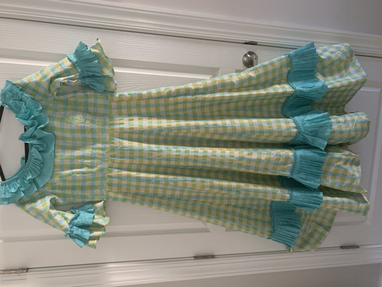 Picture of BRAND NEW- Checks style pure Lenin  dress