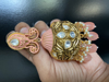 Picture of Brand New Kundan Jhumkis With Matte Gold Plating