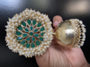 Picture of Brand New Green Kundan and Pearl Jhumkis With Gold Plating