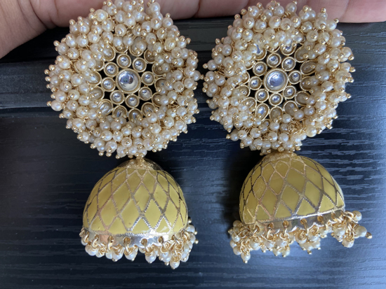 Picture of Brand New Kundan and Pearl Jhumkis With Gold Plating