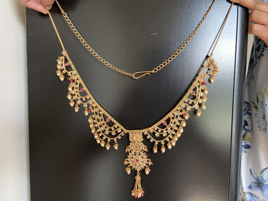 Picture of Antique Classic Gold Plated Kamarband Kundan and Ruby