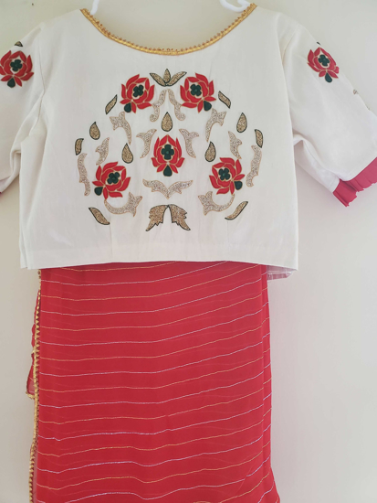 Picture of Pretty combo Bright Red with Half White Work Blouse