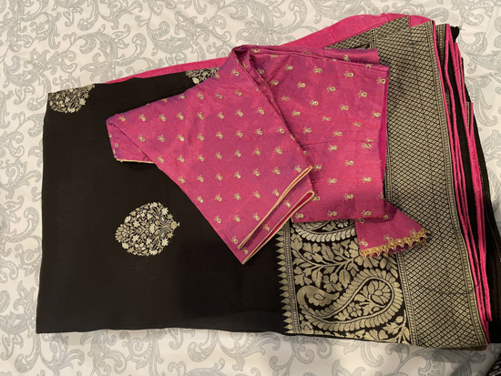 Picture of Brand new Black banaras Karan saree