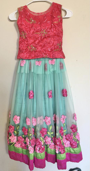 Picture of Beautiful pink rose net lehenga sea green with pink net blosue 7Y