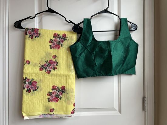 Picture of Sequence yellow saree