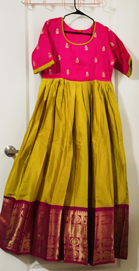 Picture of Yellow with pink long dress in L size