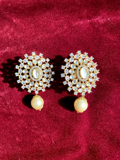 Picture of CZ Stone Studs with Pearl Drop