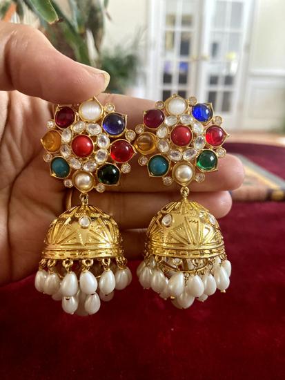 Picture of Brand New Statement earrings  Navaratna Stud Jhumkas