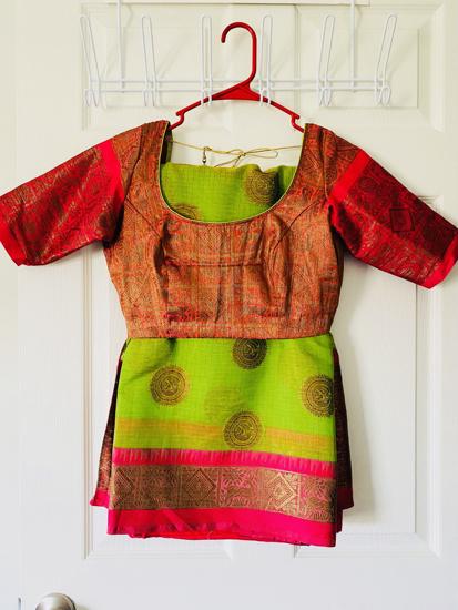 Picture of Green and pink kota silk saree