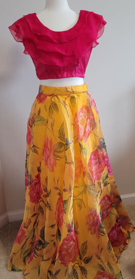 Picture of Brand new yellow floral organza pink ruffle blouse crop top