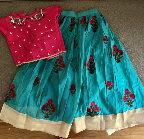 Picture of Sea green and hot pink combo lehanga set