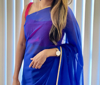 Picture of Blue Plain saree with Pink Blouse and Embroidered Blouse