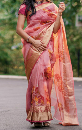 Picture of Beautiful organza floral saree with border & short sleeve blouse