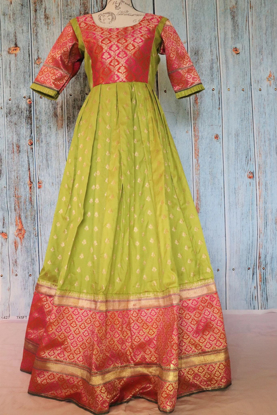 Picture of Brand new green Benaras soft silk dress with 13 inches border with backing