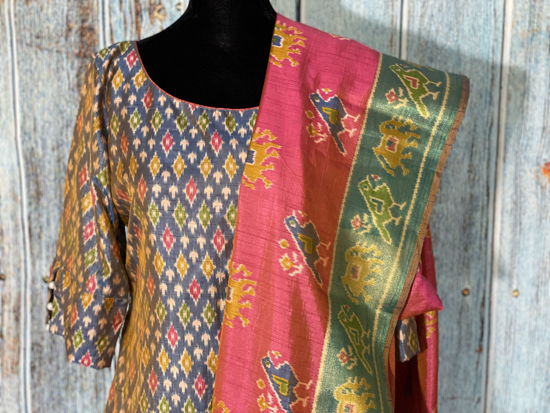 Picture of Brand new Patola silk stright cut top with Patola silk duppata