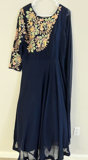Picture of Elegant Navy Blue Designer Long  Gown with cancan