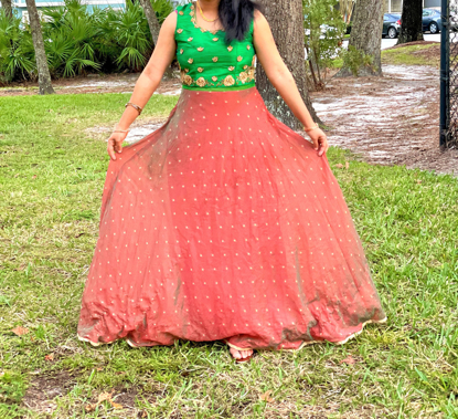 Picture of Brown and Green Long Dress