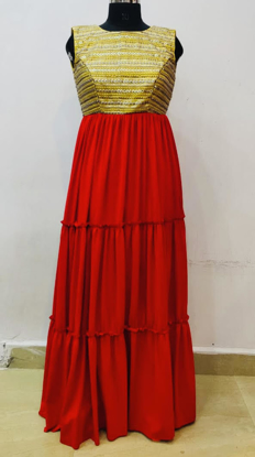 Picture of Red and Gold long dress